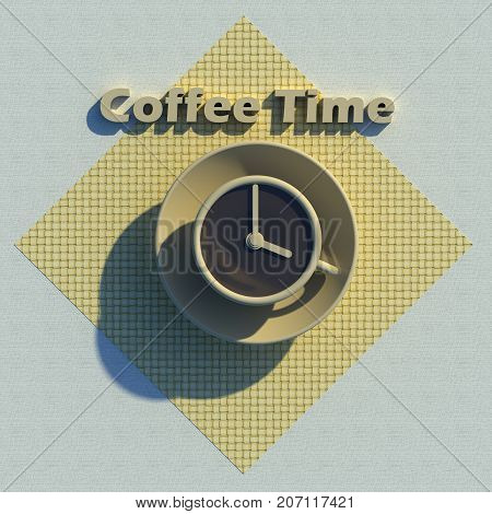 Coffee time conceptual 3D illustration. Includes coffee cup, clock icon, napkin, linen tablecloth, 3d text. Collection.