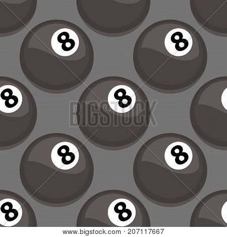 Seamless pattern with billiards ball vector black symbol game tile shape sport backdrop. Round championship graphic texture geometric wallpaper.