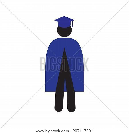 Man in graduation gown set silhouette icon. Masters clothing. Isolated vector illustration. Higher education