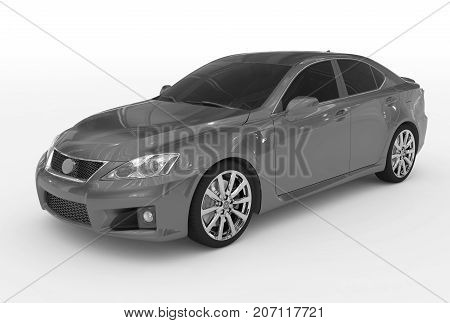 Car Isolated On White - Gray Paint, Tinted Glass - Front-left Side View
