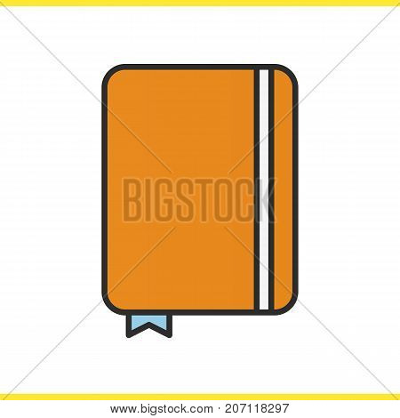 Diary notebook color icon. Notepad with bookmark. Journal. Isolated vector illustration