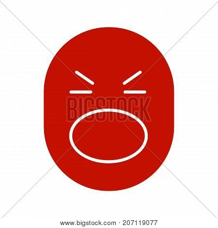 Face with open mouth and tightly closed eyes glyph icon. Shocked smiley. Silhouette symbol. Negative space. Vector isolated illustration