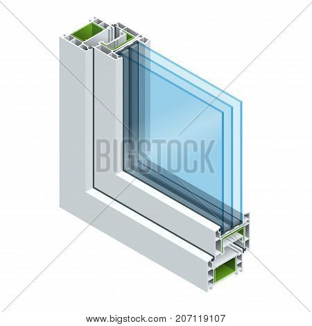 Isometric Cross-section diagram of a triple glazed window pane PVC profile laminated wood grain, classic white. Flat illustration of Cross-section diagram of glazed windows.