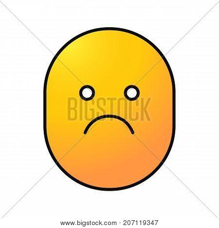 Sad smile color icon. Bad mood. Isolated vector illustration