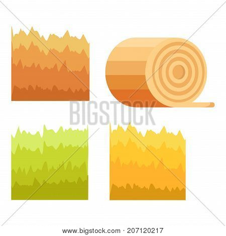 Colorful backgrounds decorative elements for mobile game interface. Green grass, yellow stack of hay, cuted stump of tree, abstract brown fence isolated on white vector illustration in cartoon style