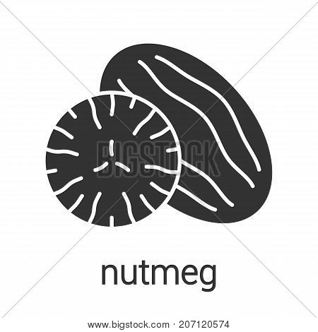 Nutmeg glyph icon. Mace spice. Silhouette symbol. Flavoring, seasoning. Negative space. Vector isolated illustration