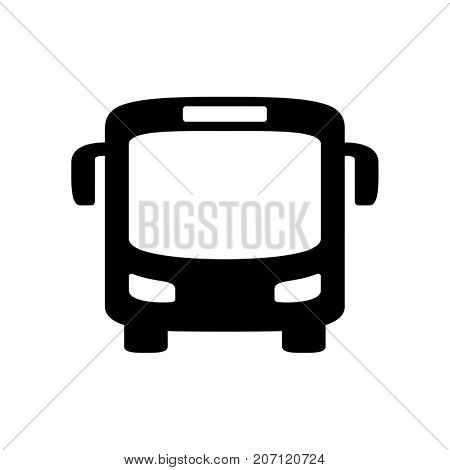 Black bus icon isolated on white