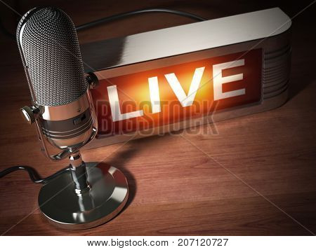Vintage microphone with signboard live. Broadcasting radio station concept. 3d illustration