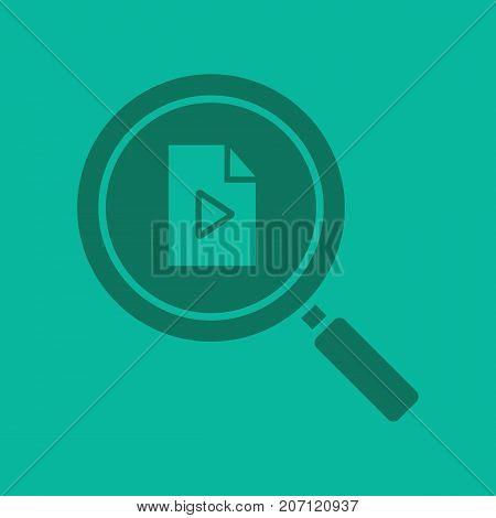 Media file search glyph color icon. Silhouette symbol. Magnifying glass with multimedia file. Negative space. Vector isolated illustration