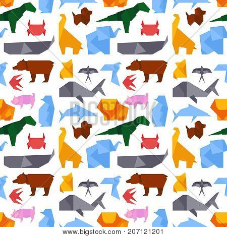 Origami style illustrations of different animals vector background seamless pattern. Asian art concept graphic icon handmade culture. Japan creative traditional toy geometric crane.