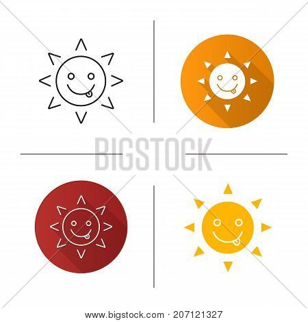 Yummy sun smile icon. Flat design, linear and color styles. Silly, goofy, foolish sun emoticon. Isolated vector illustrations