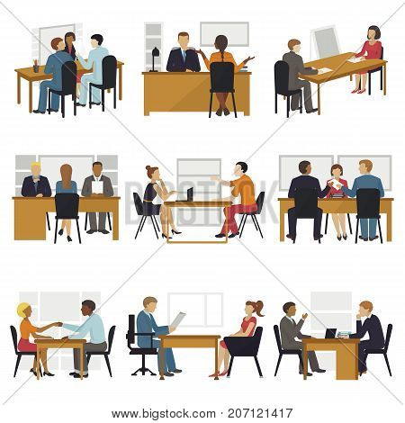 Business people sitting room long time amusing meeting candidates characters await in queue for job search interview vector illustration. Work professional communication employee worker.