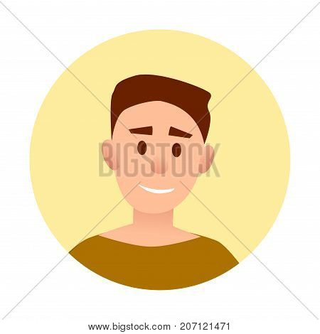 Teenager handsome boy with broad smile avatar userpic isolated vector illustration on white background. Portrait of happy kid