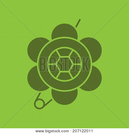 Brooch glyph color icon. Silhouette symbol. Flower shape brooch. Negative space. Vector isolated illustration
