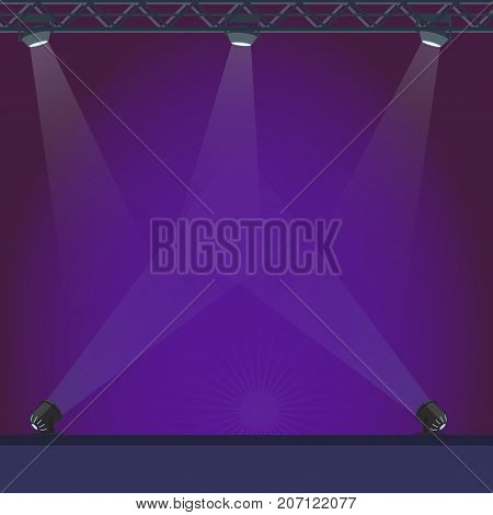 Empty stage with blue lightning and bright projectors vector illustration. Big space for music performances with good illumination.
