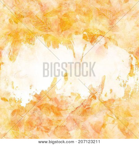 An autumn background texture with golden yellow and white painterly brush strokes and leaves silhouettes. An abstract artistic fall frame with a place for text
