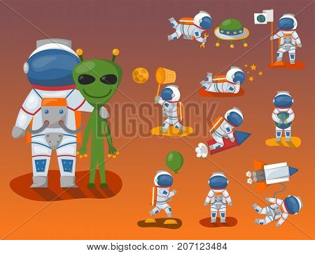 Vector astronauts in space, working character and having fun spaceman galaxy atmosphere system fantasy traveler man. Gravity floating journey suit astronomy characters.