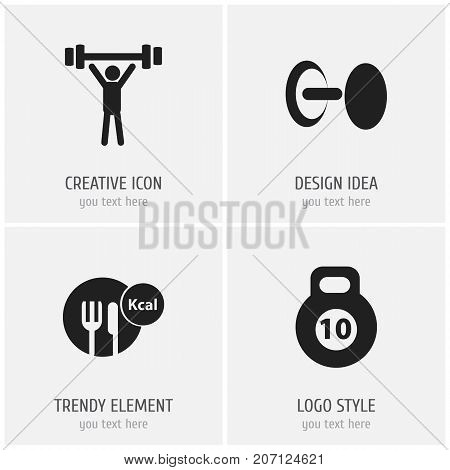Set Of 4 Editable Sport Icons. Includes Symbols Such As Healthy Food, Bodybuilding, Strength And More