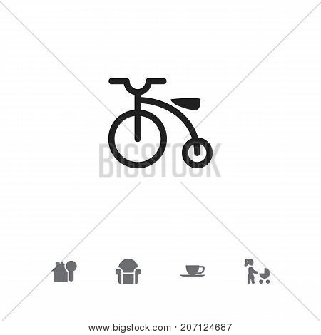 Set Of 5 Editable Folks Icons. Includes Symbols Such As Velocipede, Perambulator, Tea And More