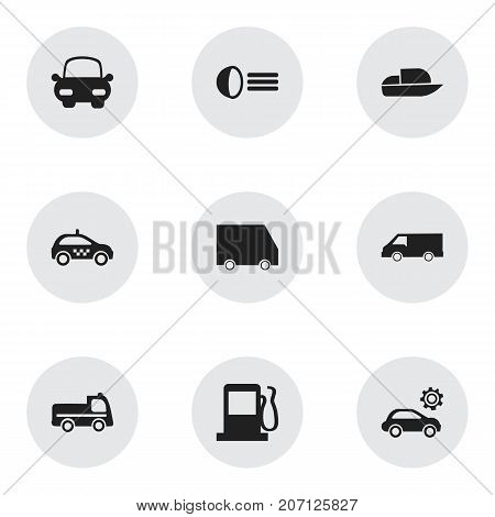 Set Of 9 Editable Transportation Icons. Includes Symbols Such As Luminary, Fuel, Food Transport And More