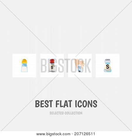 Flat Icon Sodium Set Of Pour, Spicy, Saltshaker And Other Vector Objects