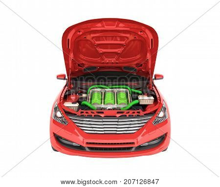 Concept Of Battery Capacity Of An Electric Car Batteries Under The Hood 3D Render On White No Shadow