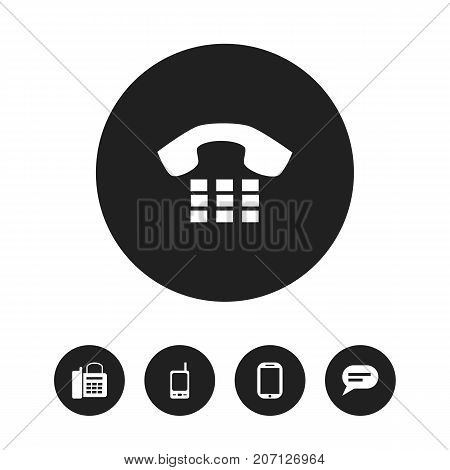 Set Of 5 Editable Phone Icons. Includes Symbols Such As Office Telephone, Call, Radio Talkie And More