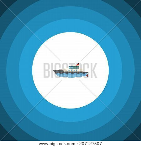 Sailboat Vector Element Can Be Used For Yacht, Vessel, Ship Design Concept.  Isolated Yacht Flat Icon.