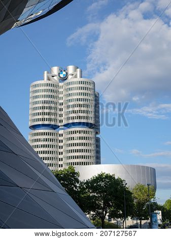 Munich Germany - July 15 2017: New four-cylinder tower of modern BMW Headquarters building with exhibition center and museum