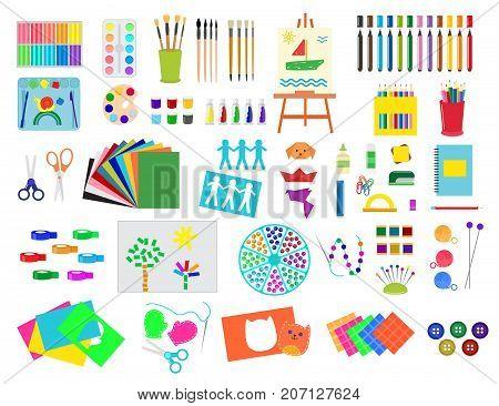 Kids creativity creation symbols artistic objects for children creativity handmade work art vector illustration