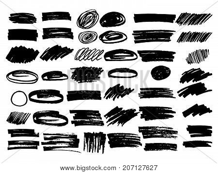 Vector black paint, ink brush stroke, brush, line or texture,  highlighter lines, frame. Dirty artistic design element,  frame, background for text.