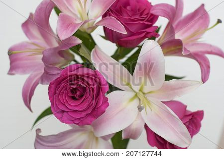 Flower bouquet isolated white background rose lilly composition pink. Valentines day date floral florist