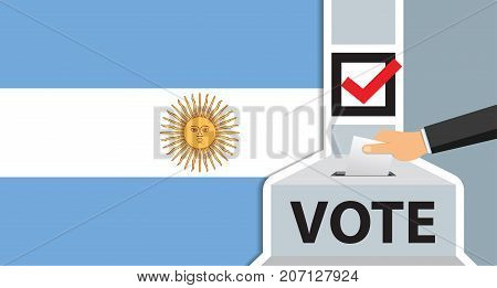 Voting. hand putting paper in the ballot box. argentina flag on background. vector illustration.