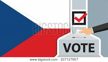 Voting. hand putting paper in the ballot box. czech republic flag on background. vector illustration.