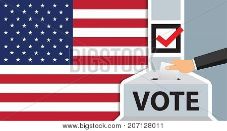 America voting. hand putting paper in the ballot box. usa flag on background. vector illustration.