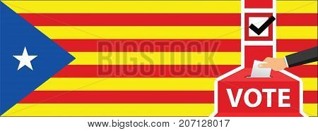 Statute of Autonomy of Catalonia - voting at the ballot box. hand putting paper in the ballot box. Catalan flag on background. vector illustration.