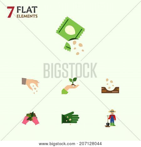 Flat Icon Sow Set Of Glove, Sow, Seed And Other Vector Objects