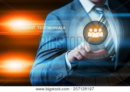 Client testimonials Opinion Feedback business technology internet concept.