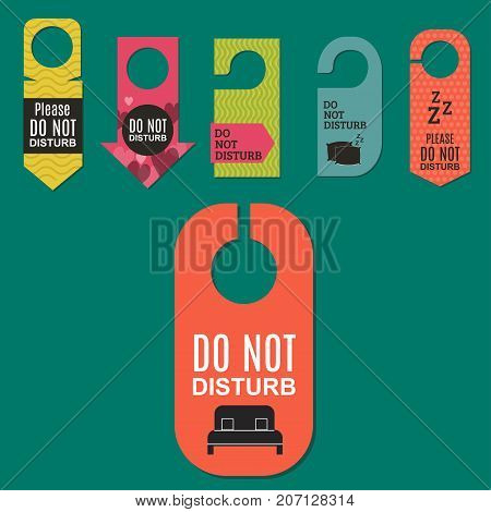 Please do not disturb hotel design. Motel service room privacy concept. Vector card hang message vacation hanger. Door quiet busy instructions graphic. poster