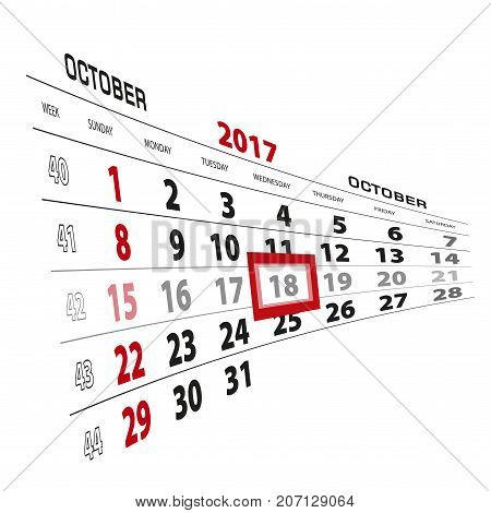 October 18, Highlighted On 2017 Calendar. Week Starts From Sunday.