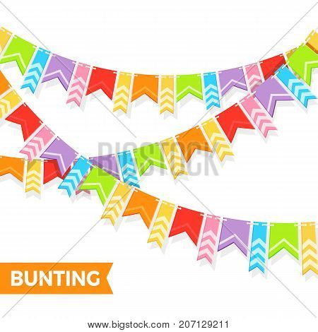 Bunting colorful flags vector illustration isolated on white. Party decorative elements in realistic design, carnival and festival decor