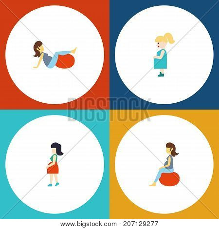 Flat Icon Pregnant Set Of Mother, Sport, Pregnant Woman And Other Vector Objects