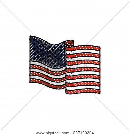 united states flag waving in colored crayon silhouette vector illustration