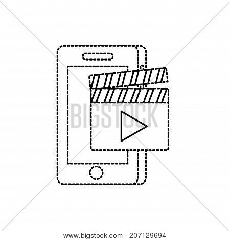 dotted shape smartphone technology with clapperboard video vector illustration