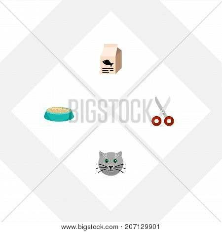 Flat Icon Pets Set Of Feeding, Fish Nutrient, Kitty And Other Vector Objects