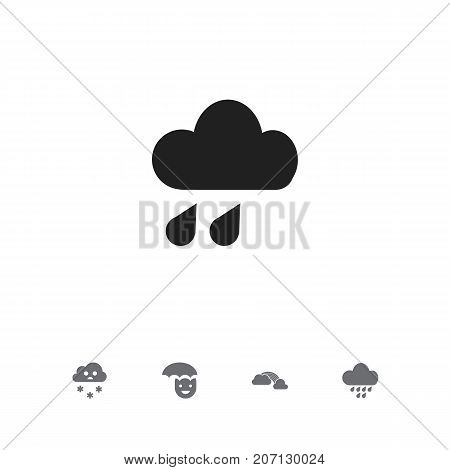 Set Of 5 Editable Air Icons. Includes Symbols Such As Rainstorm, Snowing, Happy Man And More
