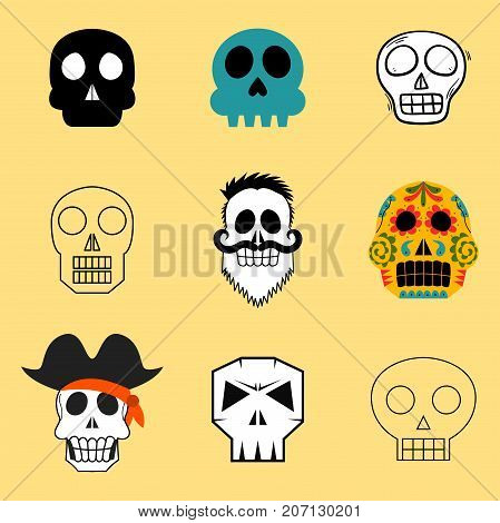 Different style skulls faces vector illustration halloween horror style tattoo anatomy art.