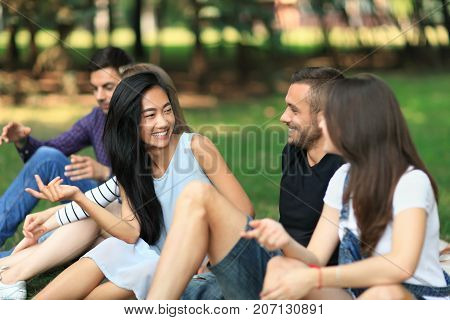 Young Cheerful Men And Women Talking In Park