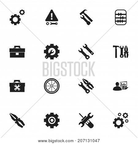Set Of 16 Editable Mechanic Icons. Includes Symbols Such As Mechanic Cogs, Arithmetic, Portfolio And More