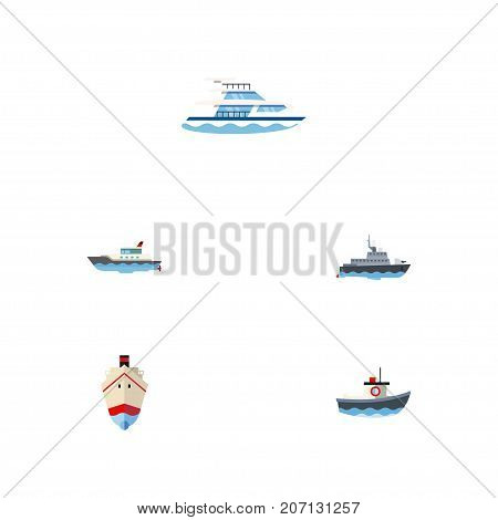 Flat Icon Ship Set Of Delivery, Sailboat, Transport And Other Vector Objects